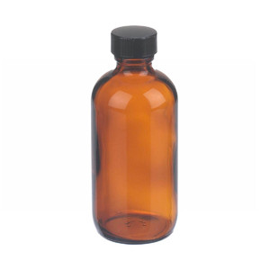 WHEATON® 4 oz Amber Glass Boston Round Bottles with Cone-Shaped Insert, case/24