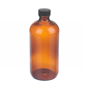 WHEATON® 16 oz Amber Glass Boston Round Bottles with Cone-Shaped Insert, case/12
