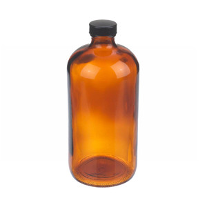 WHEATON® 32 oz Amber Glass Boston Round Bottles with Cone-Shaped Insert, case/12