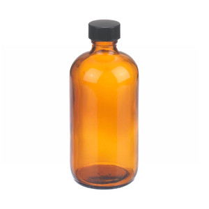 WHEATON® 8 oz Amber Glass Boston Round Bottles, Rubber Lined Caps, case/12