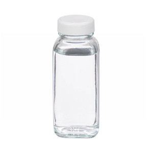 WHEATON® 4 oz Clear Glass Bottles, French Squares, PTFE Liner, case/24