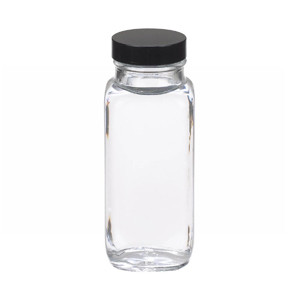 WHEATON® 8 oz Clear Glass Bottles, French Squares, Rubber Lined Caps, case/24