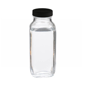 WHEATON® 16 oz Clear Glass Bottles, French Squares, Rubber Lined Caps, case/24