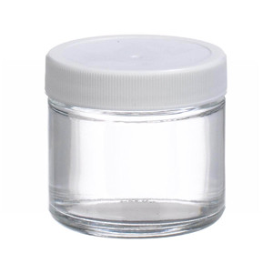 WHEATON® 2 oz Glass Jars, Straight Side Clear, Poly Vinyl Liner, case/24
