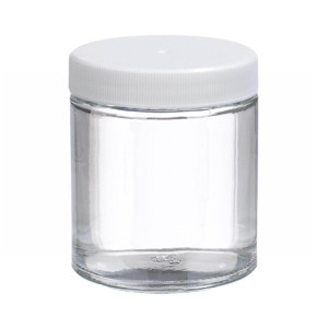 WHEATON® 4 oz Glass Jars, Straight Side Clear, Poly Vinyl Liner, case/24