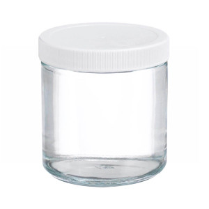 WHEATON® 16 oz Glass Jar, Straight Side Clear, PP/PTFE Liner, case/12