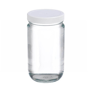 WHEATON® 32 oz Glass Jars, Straight Side Clear, PP/PTFE Liner, case/12