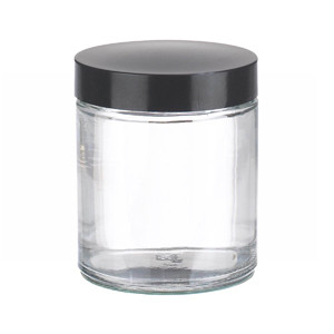 WHEATON® 4 oz Glass Jars, Straight Side Clear, Phenolic Rubber Lined Caps, case/24