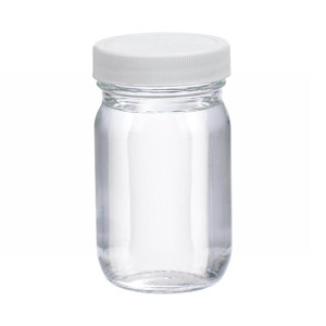 WHEATON® 4 oz Clear Glass Wide Mouth Packer Bottles, Vinyl Lined PP Caps, case/24