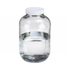 WHEATON® 130 oz Clear Glass Wide Mouth Packer Bottles, Vinyl Lined PP Caps, case/4