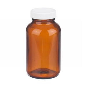 WHEATON® 8 oz Amber Wide Mouth Packer Bottles, Vinyl Lined Caps, case/24