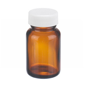 WHEATON® 1 oz Amber Wide Mouth Packer Bottles, PP/PTFE Lined Caps, case/24