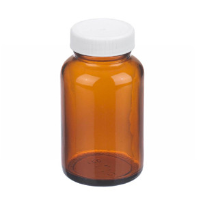 WHEATON® 4 oz Amber Wide Mouth Packer Bottles, PP/PTFE Lined Caps, case/24