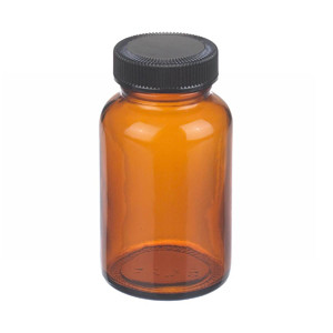 WHEATON® 4 oz Amber Wide Mouth Packer Bottles with Cone Lined Caps, case/24