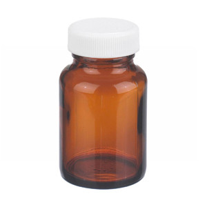 WHEATON® 2 oz Amber Wide Mouth Packer Bottles, Vinyl Lined Caps, Bulk, case/216