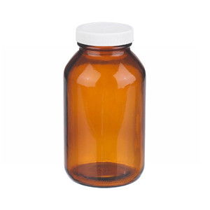 WHEATON® 16 oz Amber Wide Mouth Packer Bottles, Vinyl Lined Caps, Bulk, case/60