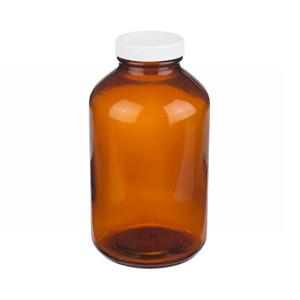 WHEATON® 32 oz Amber Wide Mouth Packer Bottles, Vinyl Lined, Bulk, case/36
