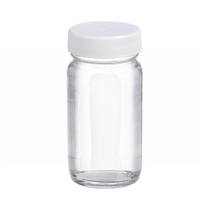 WHEATON(R) 2 oz Clear Wide Mouth Straight Side Glass Bottles, Vinyl Lined PP Caps, case/48