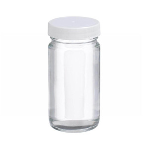 WHEATON® 2 oz Clear Wide Mouth Straight Side Glass Bottles, 38-400 PTFE Lined Caps, case/48