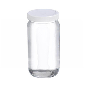 WHEATON® 16 oz Clear Wide Mouth Straight Side Glass Bottles, 70-400 PTFE Lined Caps, case/24