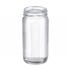 WHEATON® 8 oz Wide Mouth Bottles, Round, Clear Glass, 58-400 neck, No Caps, case/96