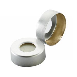 WHEATON(R) 20mm Hole Caps for Headspace Vials, Pressure Release, PTFE/Silicone Septa, case/100
