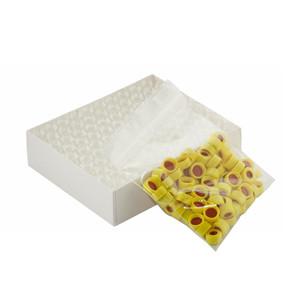 WHEATON® 12X32 Clear Borosilicate Glass Vials, Yellow Cap, PTFE/Silicone, case/100