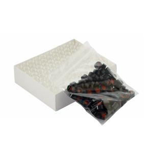 WHEATON® 12X32 ABC Clear Vials, Black Hole Cap, PTFE Liner, case/100