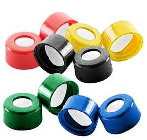 """WHEATON® ABC 9mm Open Top Screw Caps, .005"""", PTFE /.035"""" Silicone, case/1000"""