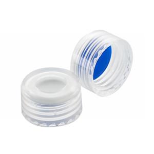 WHEATON® ABC 9mm Open Top Screw Caps, Blue, PTFE /White Silicone Liner, case/1000