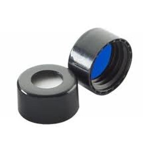 WHEATON® ABC 9mm Black Open Top Screw Caps with Blue PTFE/Silicone Liner, case/1000