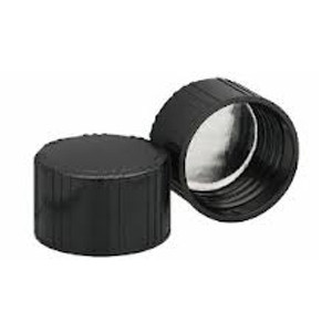 WHEATON® 38-439 Black Phenolic Caps, Foil Faced Pulp Liner, case/200