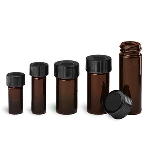 WHEATON® 5mL Borosilicate Glass V-Amber Vials, 20-400 Hole Caps, case/12