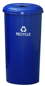 Metal Recycle Bin for Can 20 gallon, Indoor, Dark Blue
