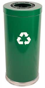 Metal Recycle Bin, 24 gal, Single Opening Indoor