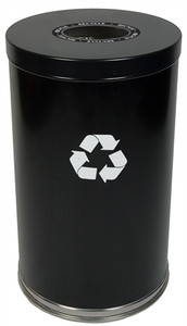 Metal Recycle Bin, 33 gal, Single Opening Indoor