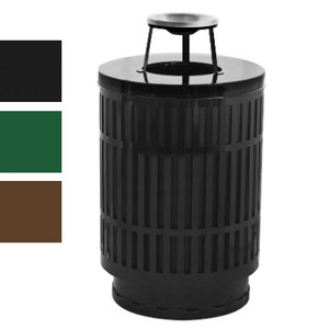 Outdoor Trash Can Receptacle, 40 Gal Ash Top, Plastic Liner, Black