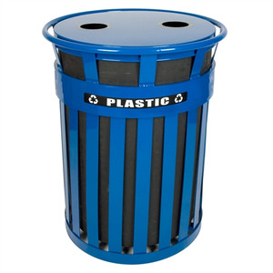 Outdoor Waste Can, Blue Steel Recycle Bin, Oakley Series