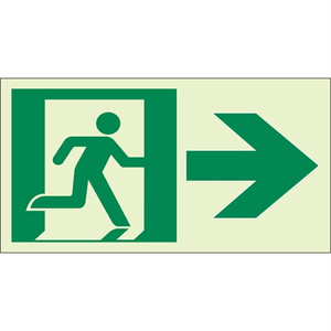 "EcoGlo Glow in the Dark ""Exit to the Right"" Sign, Unframed, 8"" x 4.6"""