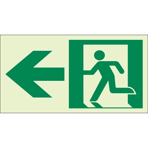 "EcoGlo Glow in the Dark ""Exit to the Left"" Sign, Unframed, 8"" x 4.6"""