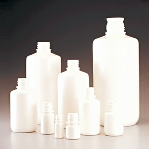 Nalgene® 32 oz (1000mL) Boston Rounds White HDPE Bottles, No Caps, case/50