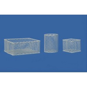 "Test Tube & Lab Ware Storage Basket, Epoxy-Coated White, 9"" x 9"" x 9"""
