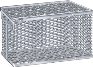 "Aluminum Tilt-Cover Test Tube & Lab Ware Storage Basket, 12.9"" x 9"" x 7"""
