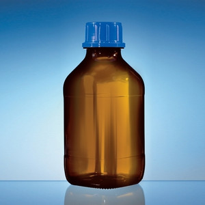 Plastic Coated Amber Bottles, 250mL, Square GL32 Cap