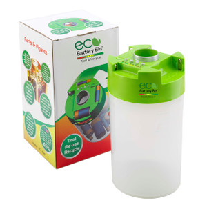 ECO Battery Bin-Test, Store & Recycle AA, AAA, C, D Batteries