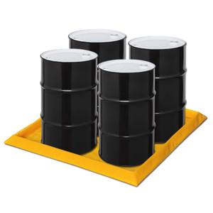 "Eagle® 4-Drum SpillNest Spill Containment, 57.75"" x 57.75"", 30 Gal, Yellow"