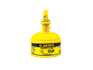 Justrite® Type I Steel Safety Can w/Trigger-handle for Flammables, 1 Pint, Yellow