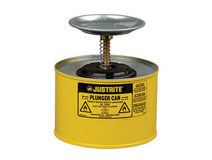 Justrite® Plunger Dispensing Can, 2 Quart, Yellow