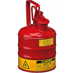 Justrite® Type I Steel Safety Can w/Trigger-handle for Flammables, 1 gal, Red