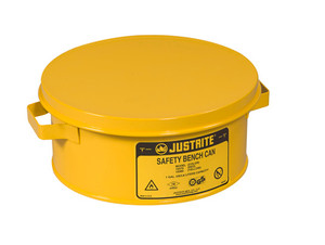 Justrite® Steel Bench Can, 1 gallon, Choose Colors and Basket